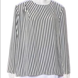 Tops - Striped blouse zip back cotton epaulets